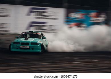 Latvia, Riga, Bikernieki raceway - AUG 14, 2020: Drift King of Riga 2020 BMW M3 E36 HKG Nikolas Bertans go fast