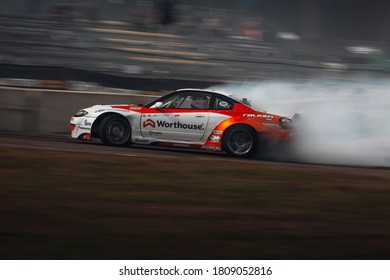 Latvia, Riga, Bikernieki raceway - AUG 14, 2020: Drift King of Riga 2020 Piotr Wiecek in drift at Nissan S15 Silvia