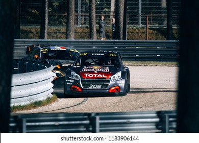 Latvia, Riga, Bikernieki Raceway - SEP 15, 2018: Neste World RX of Latvia Sebastien Loeb on track with Peugeot 208 RX Red Bull Total Supercar