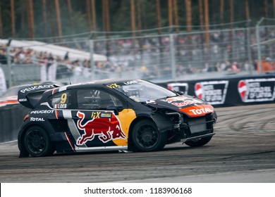 Latvia, Riga, Bikernieki Raceway - SEP 15, 2018: Neste World RX of Latvia Sebastien Loeb crash his Peugeot 208 RX Red Bull Total Supercar