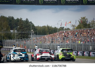 Latvia, Riga, Bikernieki Raceway - SEP 15, 2018: Neste World RX of Latvia Audi S1 RX TCR and Renault Clio RX on the pitlane before start