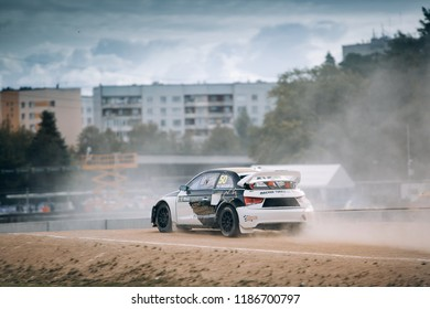 Latvia, Riga, Bikernieki Raceway - SEP 15, 2018: Neste World RX of Latvia Audi S1 RX quattro  jump from the trampoline