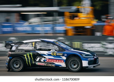 Latvia, Riga, Bikernieki Raceway - SEP 15, 2018: Neste World RX of Latvia Johan Kristoffersson start race with Volkswagen Polo R RX