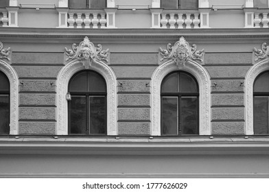 LATVIA, RIGA - JUNE 28, 2019: Fragment of the facade of a residential building in the style of national romanticism on Elizabeth Street, windows and details