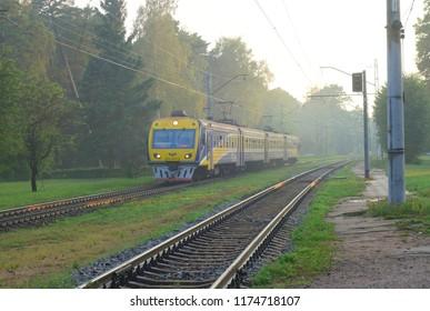 LATVIA, RIGA, JURMALA - AUGUST 24, 2018: Evening evening and electric train in Dzintari, Jurmala