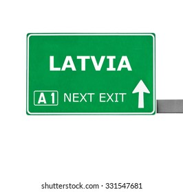 LATVIA road sign isolated on white