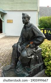LATVIA, SALDUS - 19 SEPTEMBER: Janis Rozentals was painter, who was born in Saldus parish. View to monument next to the museum on 19 September 2020, Saldus, Latvia.