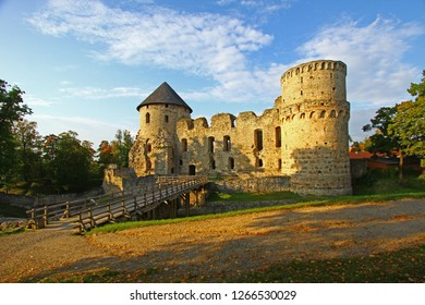 Cēsis, Latvia - September 14, 2014: Cēsis Castle (Schloß Wenden), one of iconic and best preserved medieval castles in country. Economic center of Teutonic Order built by Livonian Brothers of Sword.