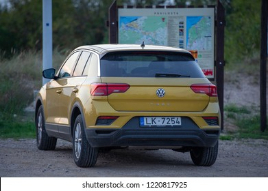 LATVIA - SEPTEMBER 4, 2018: Volkswagen T-Roc car. The Volkswagen T-Roc is a small sub compact SUV by German manufacturer Volkswagen. It was unveiled as a concept car at the 2014 Geneva Auto Show.