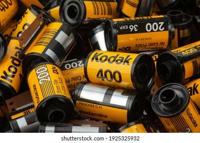 Latvia, Talsi, february 26, 2021: A lot of Kodak film cartridge. Used and empty cartridges colorful film