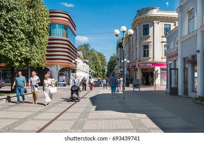 Latvia. Yurmala (Jurmala). Augusts 9, 2017. People walk on Jurmala`s kilometer-long pedestrian boulevard.