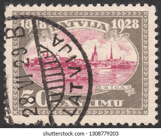 LATVIA-CIRCA 1929:A stamp printed in Latvia,shows Decade of the country.The landscape of city Riga,circa 1929