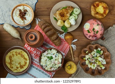 Latvian cuisine, Traditional assorted dishes, Top view.