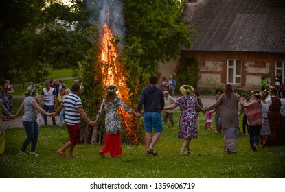 "Latvian culture tradition. Midsummer in Latvia. Celebration of ""Ligo"" feast in 23 June, 2017"