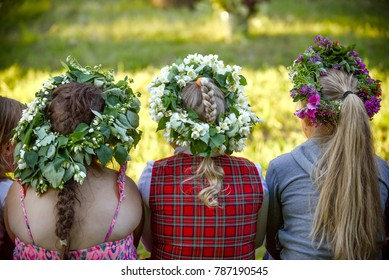 Latvian culture tradition. Midsummer in Latvia. Celebration of Ligo feast in June.