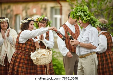 "Latvian culture tradition. Midsummer in Latvia. Celebration of ""Ligo"" feast in 23.062017."