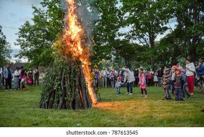 """Latvian culture tradition. Midsummer night in Latvia. Celebration of """"Ligo"""" feast in June 23 2017"""