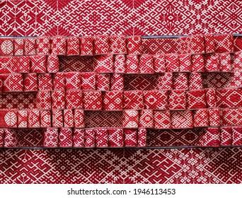 Latvian traditional folk belt named Lielvarde belt in a cretive arrangement. Latvian sighs and simbols