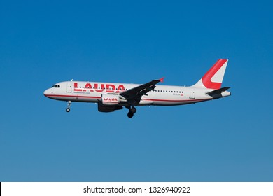 LaudaMotion Airbus A320 with registartion OE-LOA landing DUS. The specific aircraft had an Incident in London Stansted after rejected takeoff skidded runway. Dusseldorf, Germany - February 27, 2019