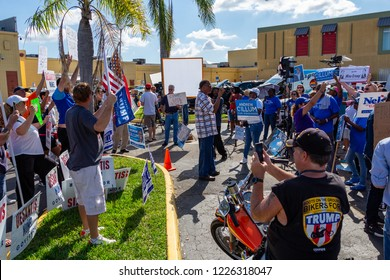 LAUDERHILL, FLORIDA, USA - NOVEMBER 10, 2018: Republicans and Democrats face off at vote counting protest outside Broward County Supervisor of Elections Brenda Snipes' office