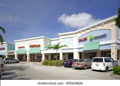 LAUDERHILL - OCTOBER 8: Image of the Inverrary Falls RK Shopping Plaza located at 5855 W Oakland Park Blvd October 8, 2016 in Lauderhill FL, USA