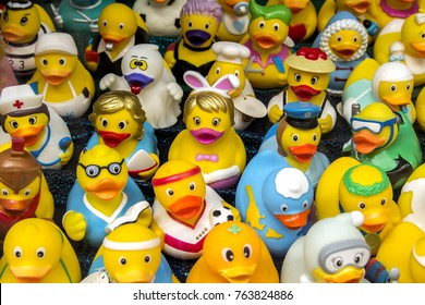 Lauf an der Pegnitz, Bavaria, GERMANY - AUG 20, 2017: Collection of various rubber ducks in a shop window of a souvenir store.
