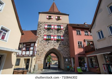 LAUF AN DER PEGNITZ, GERMANY - 25 AUGUST: Hersbrucker gate at the end of the market square. 25 AUGUST 2017