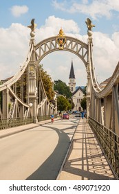 Laufen, Germany - August 30, 2016: Bridge from Laufen (Bavaria, Germany) to Oberndorf bei Salzburg (Austria) over Salzach river. The bridge connects two european countries.
