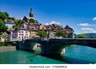 Laufenburg, Germany, 05.29, 2020, Laufenburg is a city on both sides of the Rhine river