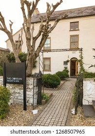 LAUGHARNE, CARMARTHENSHIRE, WEST WALES - AUGUST 2018: Entrance to the Corran Resort and Spa in Laugharne, West Wales.