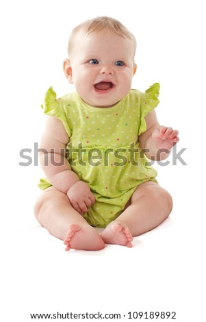 793a9dbb46ed Laughing 6 Month Old Baby Girl Stock Photo (Edit Now) 109189892 ...