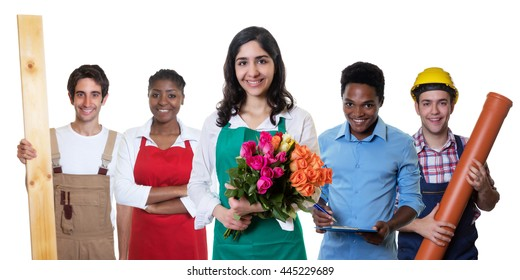 Laughing arabic florist with group of other international apprentices
