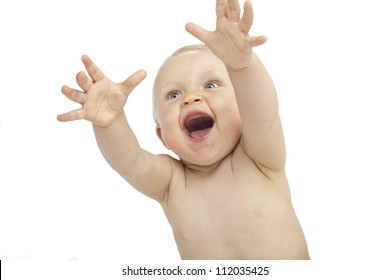 Laughing baby hands up isolated on white