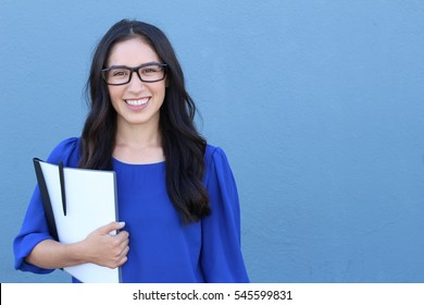 Laughing big white smile perfect straight teeth dental patient headshot female student with glasses youthful genuine