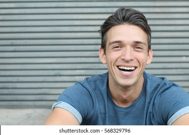 Laughing big white smile perfect headshot male youthful genuine