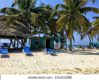 Laughing Bird Caye, Belize - May 31st, 2018: The beautiful view of laughing bird caye, a tiny tropical island in the carribean off the coast of Belize, situated on the belizean barrier reef.