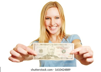 Laughing blonde woman holds a 50 dollar bill at the camera