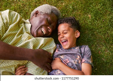 Laughing boy and granddad lying on grass, overhead close up