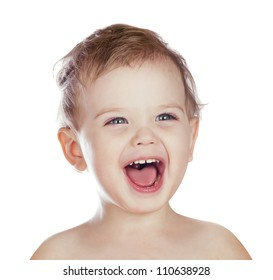 laughing boy isolated