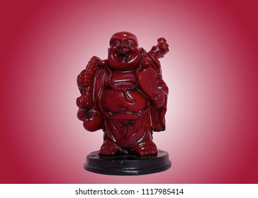 laughing Buddha on red background