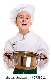Laughing cookee boy in hood with macaroni pot in hands isolated on white