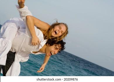 laughing couple having fun