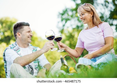 Laughing couple having picnic in countryside,holding glasses with delicious red wine.
