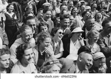 Laughing crowd of people