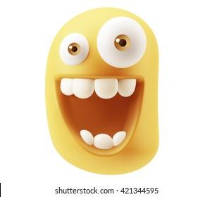 Laughing Emoji Cartoon. 3d Rendering.