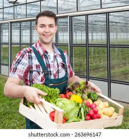 Laughing farmer in front of a greenhouse with vegetables
