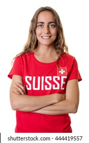 Laughing female sports fan from Switzerland