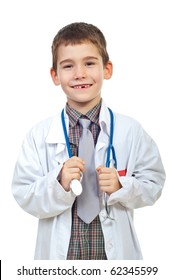 Laughing future doctor boy holding and showing his missing teeth isolated on white background