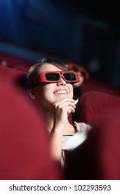 Laughing girl in 3D movie
