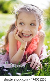 Laughing girl outdoor portrait